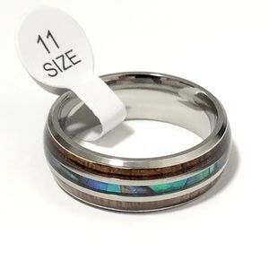 Ring with Wood, and Abalone Shell Inlay. Size 11